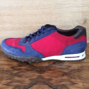 Cole Haan Lace Up Sneakers Suede Blue and Red